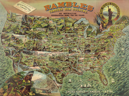 ANONYMOUS - Game board with map of America, 1890 - 3MP582